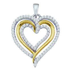 10kt Yellow Gold Round Black Color Enhanced Diamond Double Heart Pendant 1/2 Cttw