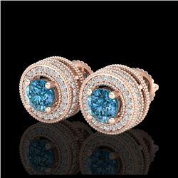 2.16 ctw SI Fancy Blue Diamond Halo Ring 10K Rose Gold