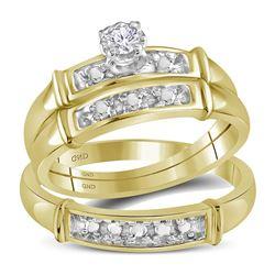 10kt Yellow Gold Round Diamond Circle Frame Cluster Pendant 1/5 Cttw