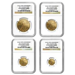 2011-W 4-Coin Proof Gold American Eagle Set PF-70 NGC