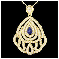 177 ctw London Blue Topaz & Diamond Necklace 14K Yellow Gold