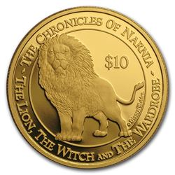 2006 New Zealand 1 oz Proof Gold $10 The Chronicles of Narnia