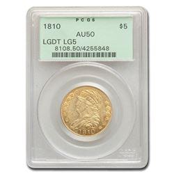 1810 $5 Capped Bust Gold Half Eagle AU-50 PCGS (Lg. Date. Lg 5)