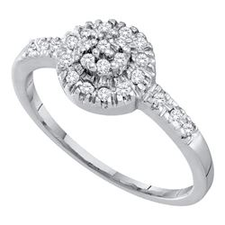 10kt White Gold Round Black Color Enhanced Diamond Cluster Ring 1/2 Cttw