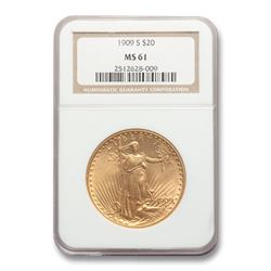 1909-S $20 Saint-Gaudens Gold Double Eagle MS-61 NGC