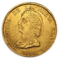 1846 Colombia Gold 16 Peso AU