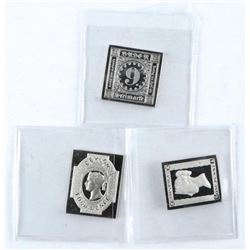 Group of (3) 925 Sterling Silver Postage Stamp