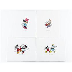Group of (4) Disney 4x4 Fine Art Print.