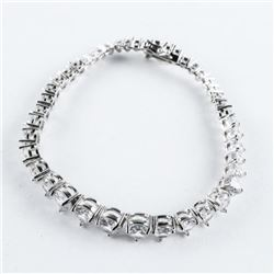 925 Silver Bracelet, Graduating Tennis Style with