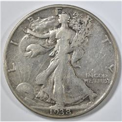 1938-D WALKING LIBERTY HALF DOLLAR, FINE