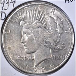 1934-D PEACE DOLLAR, AU