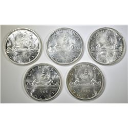 5-1966 CANADIAN SILVER DOLLARS
