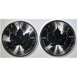2-2020 GEM BU CANADIAN SILVER MAPLE LEAF COINS