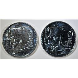 2-2003 BU BRITISH 1oz SILVER BRITANNIA COINS