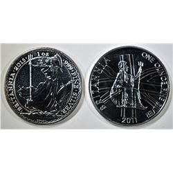 2011 & 15 BU BRITISH BRITANNIA 1oz SILVER COINS