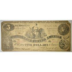 1861 $5 CONFEDERATE NOTE