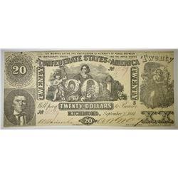 1861 $20 CONFEDERATE NOTE