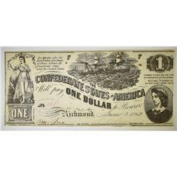 1862 $1 CONFEDERATE NOTE