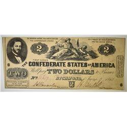 1862 $2 CONFEDERATE NOTE