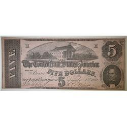 1862 $5 CONFEDERATE NOTE