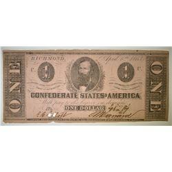 1863 $1 CONFEDERATE NOTE