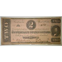 1863 $2 CONFEDERATE NOTE