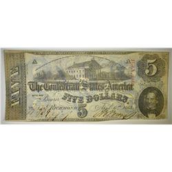 1863 $5 CONFEDERATE NOTE