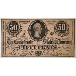 1864 50c CONFEDERATE NOTE