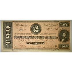1864 $2 CONFEDERATE NOTE CU