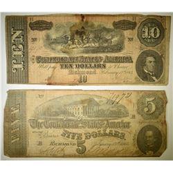 1864 $5 & $10 CONFEDERATE NOTES