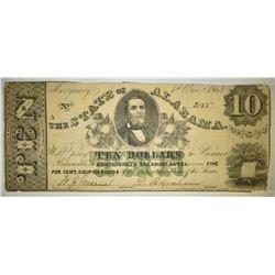1864 $10 STATE OF ALABAMA