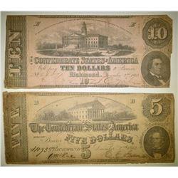1862 $5 & $10 CONFEDERATE NOTES