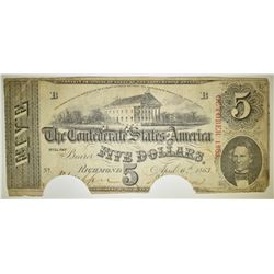 1863 $5 CONFEDERATE NOTE HOLE CANCELLED