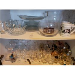 Assortment of Stemware & Glass Serving Dishes A