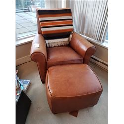Ethan Allen Leather Chair & Footstool C