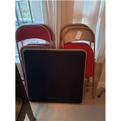 Card Table & Four folding chairs C