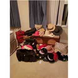 Large assortment of Mens & Ladies Hats, Purses & luggage A