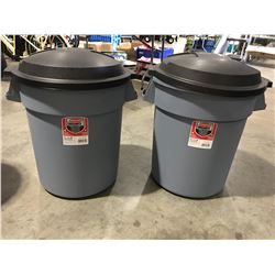 RUBBERMAID ROUGHNECK 20GAL GARBAGE CANS WITH EASY GRIP HANDLES & LIDS X 2 - A