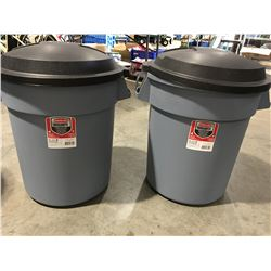 RUBBERMAID ROUGHNECK 20GAL GARBAGE CANS WITH EASY GRIP HANDLES & LIDS X 2 - B