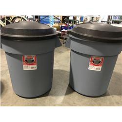 RUBBERMAID ROUGHNECK 20GAL GARBAGE CANS WITH EASY GRIP HANDLES & LIDS X 2 - C