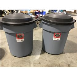 RUBBERMAID ROUGHNECK 20GAL GARBAGE CANS WITH EASY GRIP HANDLES & LIDS X 2 - D