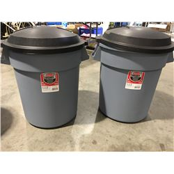 RUBBERMAID ROUGHNECK 20GAL GARBAGE CANS WITH EASY GRIP HANDLES & LIDS X 2 - E