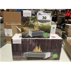 "ECO-FEU PARIS STAINLESS STEEL TABLE TOP ETHANOL FIRE PLACE 7 7/8"" X 7 7/8""X 4.75"" & TOULOUSE TABLE"