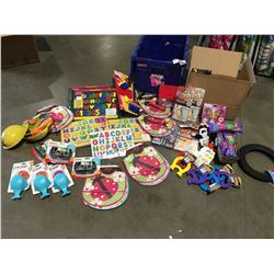 SHELF LOT OF ASSTD CHILDRENS TOYS, SMALL MAGNETIC CHALK & DRY -ERASE BOARDS, 3D PUZZLES ETC.