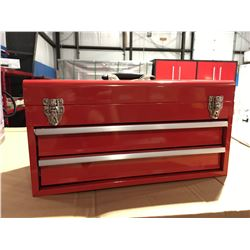 """ACE 19"""" 2 DRAWER METAL TOOL BOX - 55X27X32 CM - RED - B"""