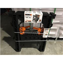 "WORX CLAMPING SAWHORSES (27"" X 18"") 1000LBS & 2 X DIRECT MOUNT QUICK CLAMPS - A"