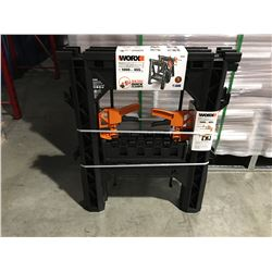 "WORX CLAMPING SAWHORSES (27"" X 18"") 1000LBS & 2 X DIRECT MOUNT QUICK CLAMPS - B"