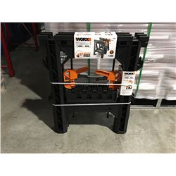 "WORX CLAMPING SAWHORSES (27"" X 18"") 1000LBS & 2 X DIRECT MOUNT QUICK CLAMPS - C"