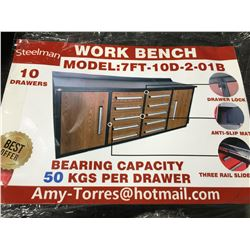 STEELMAN 7FT WORK BENCH WITH 10 DRAWERS & 2 CABINETS, DRAWERS  WITH LOCK & ANTI-SLIP LINERS, USING