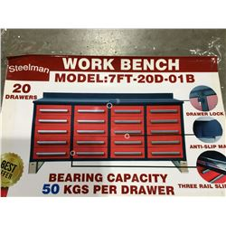 STEELMAN 7FT WORK BENCH WITH 20 DRAWERS  WITH LOCK & ANTI-SLIP LINERS, USING
